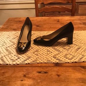 Barely Worn Black Leather Tory Butch Heels